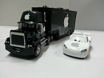 Disney Pixar Cars Black Apple Mack Racer's Truck & Jobs 1:55 Loose New
