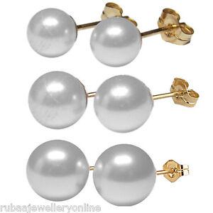 6mm-8mm-10mm-Blanco-Concha-Perla-redonda-perla-Bola-De-Oro-De-14k-Relleno-Aretes