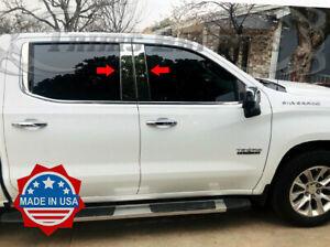 2019-up-Chevy-Silverado-Sierra-1500-4Dr-Stainless-Steel-Pillar-Post-Trim