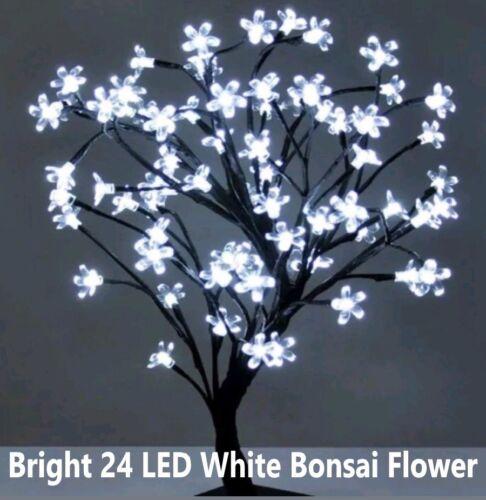 Bright 24 DEL 40 cm BLANC bonsai Fleur Arbre Batterie Noël Lumière HQ