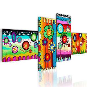 wandbilder xxl blumen abstrakt bunt leinwand bilder 4 teilig wohnzimmer 0104 4 ebay. Black Bedroom Furniture Sets. Home Design Ideas