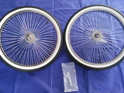 """with Whitewall Tires and Tubes 20/"""" Stingray Lowrider 72 Spoke Chrome Wheels"""