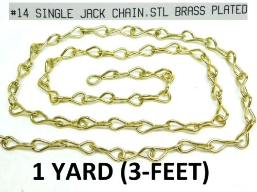 #14 Gauge Decorative Single Jack Chain Brass Plated Hanging Lighting HF 3 FEET