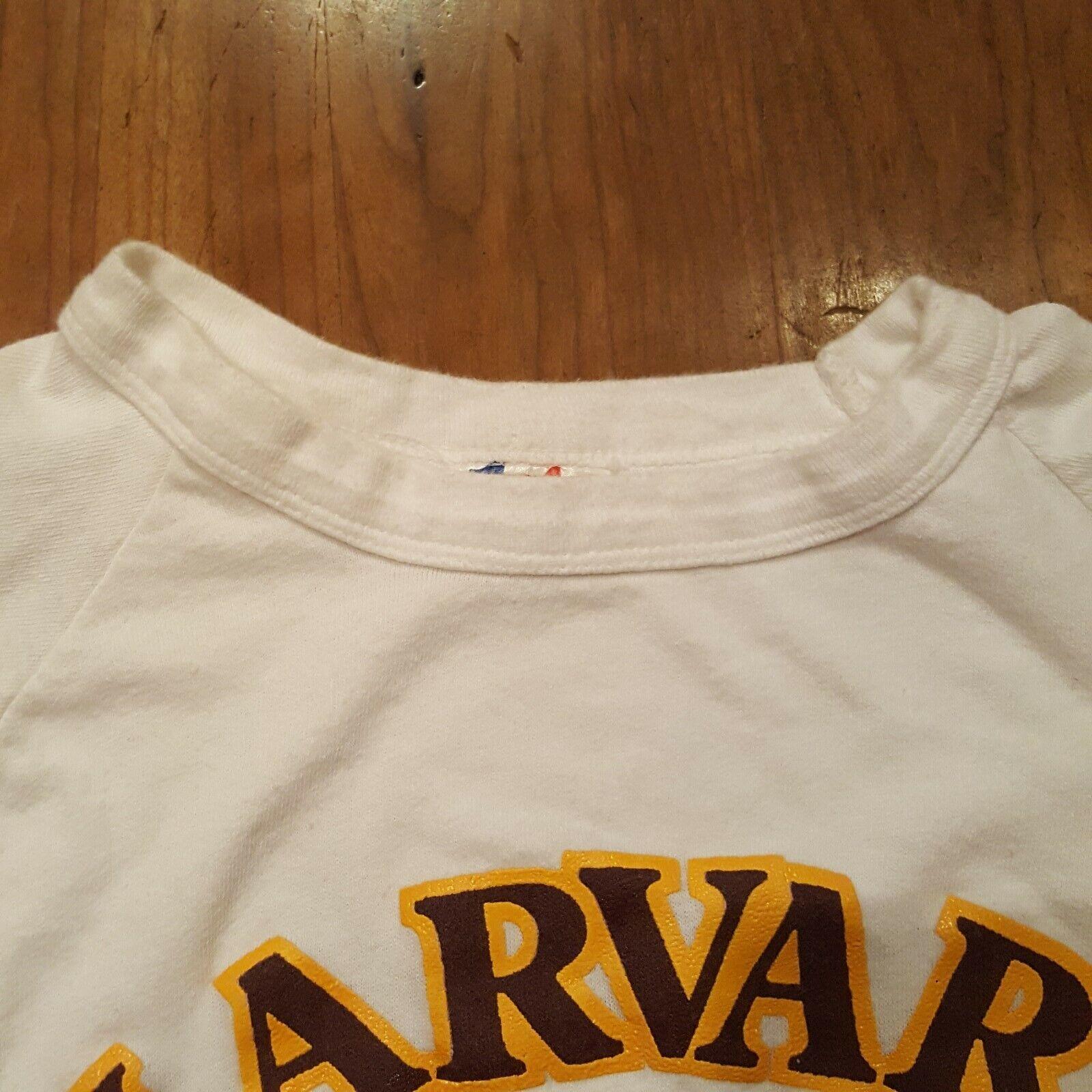 Vtg 70s Harvard University T-Shirt M White Ringer… - image 7