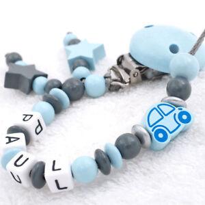 Schnullerkette-mit-Namen-Junge-Auto-amp-Stern-grau-blau-Babygeschenk-Nuckelkette