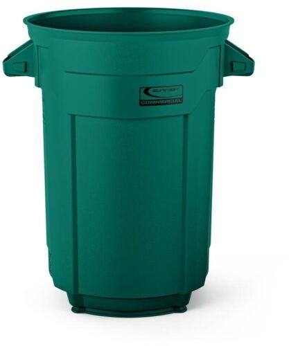 Dark Green Finger Print Resistant with Trash Bag Fastener Trash Can 32 Gal