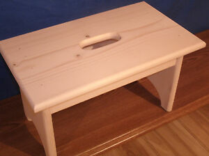 Wooden Step Stool With Hand Hole 9 Unfinished Pine Ebay