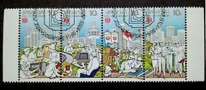 Singapore-1986-NTUC-25th-Anniversary-Complete-Set-Strip-Of-4-4v-Used-2