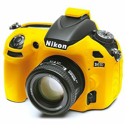 Camera silicone cover Yellow for Nikon D610 + Screen Protectors.