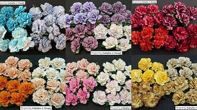 PACK 5  BEAUTIFUL 25MM CARNATIONS FOR CARDS AND CRAFTS 6 COLOURS TO CHOOSE