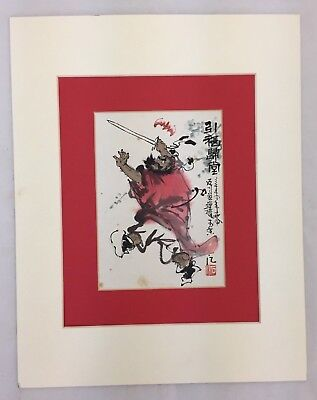 OLD VINTAGE JAPANESE SAMURAI WARRIOR SWORD WATERCOLOR ART SIGNED W/ HANKO  STAMP | eBay