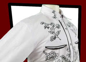 RELCO-Red-Star-Rodeo-White-Black-Embroidered-Cowboy-Gaucho-WESTERN-Shirt