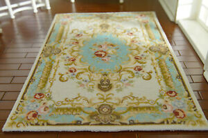 "Dollhouse Miniature Large Beige Rug 9/"" x 6/"" with Fringe 1:12 Scale"