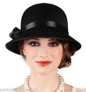 Lusso Lusso Tema Con Classe Nero Donna Di Fiocco Charleston Charleston  Cappello xPXqSq 8ee9253c0721