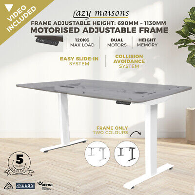 Details about  FRAME ONLY Motorised Height Adjustable Desk Electric Sit Stand Table 120KG Load