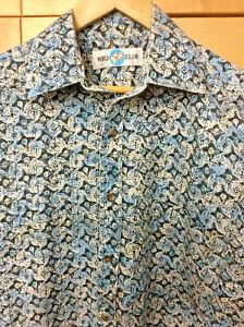 1980s 80s Blue White Button Up Shirt Geometric Preppy Small Medium Vintage Oxford Shirt