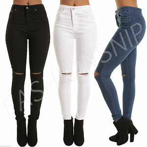 Womens-HIGH-WAISTED-SKINNY-JEANS-Jeggings-Ladies-RIPPED-PANTS-6-8-10-12-14-16