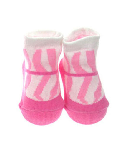 Baby Girls Pink /& Cream Soft Touch patterned socks Zebra 0-6 months BNWT