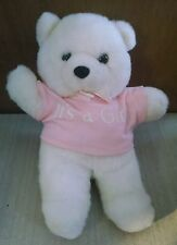 "White Pink ""It's a Girl"" Baby Stuffed Bear Animal Toy 11"" Tall Oshko"