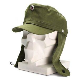 f62e2cebddb Original East German NVA army earflaps cap M-43 style hat w metal ...