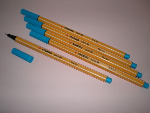 5 Stk Stabilo Point 88 Fineliner 88//51 türkis-blau Filzstift Filzschreiber Fein