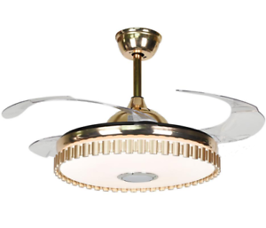Luxury Bluetooth Crystal Ceiling Fans With Light Retractable Blades Fan Indoor Ebay