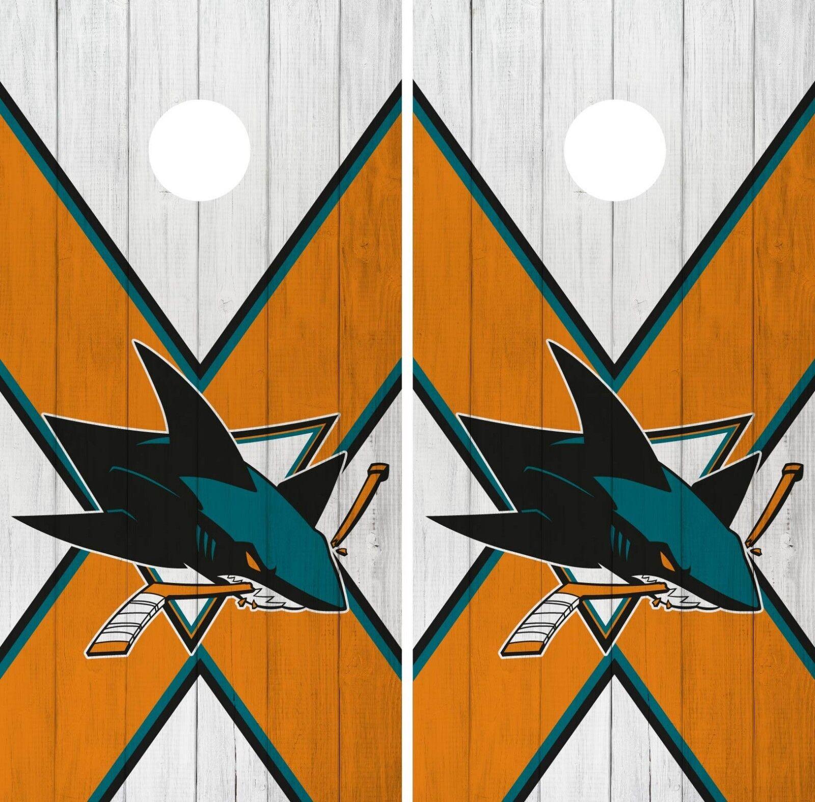 San Jose Sharks Cornhole Wrap NHL Wood Game Board Skin Set Vinyl Decal CO207