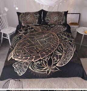 Duvet Comforter Cover 3 Piece King Size Set Black And Gold Turtle