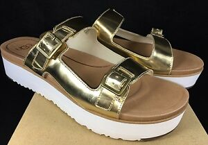 eb3ad27be943 Image is loading UGG-Australia-ARDYNE-METALLIC-Gold-LEATHER-PLATFORM-SLIDE-