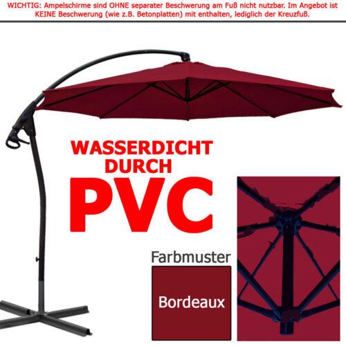 Ampelschirm LUXUS WASSERDICHT durch PVC Schirm 3m Sonnenschirm Gartenschirm