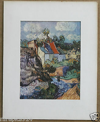 Vincent Van Gogh Houses at Auvers Vintage Lithograph from 1970s