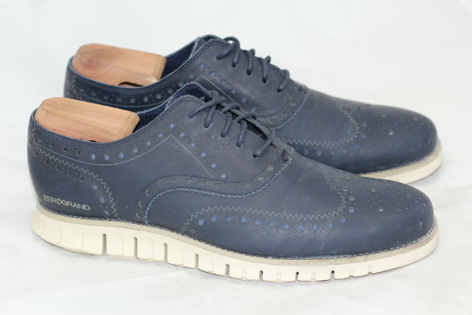 Para Hombre Cole Haan ZeroGrand ala Oxford Zapato-Azul Marino Tinta Brillo 10 M-C20753 (R66)