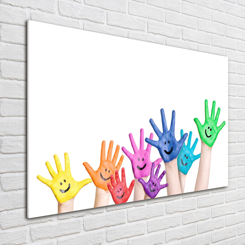 Wandbild aus Plexiglas® Druck auf Acryl 100x70 Kunst Gemalte Hände