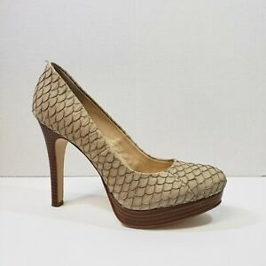 Calvin-Klein-Kendall-Womens-Size-7-5-M-Taupe-Scaled-Leather-Platform-Pumps-Heels