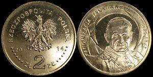 Pologne. 2 Zloty. 2014 (Pièce KM#Y.919 Neuf) Canonisation de Jean-Paul II