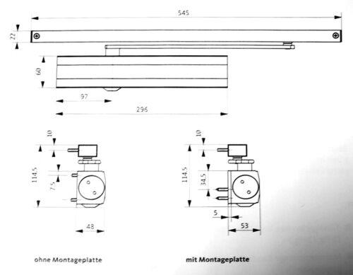 BKS Obentürschließer OTS 634 mit Gleitschiene K-17523-00-0-X Farben div
