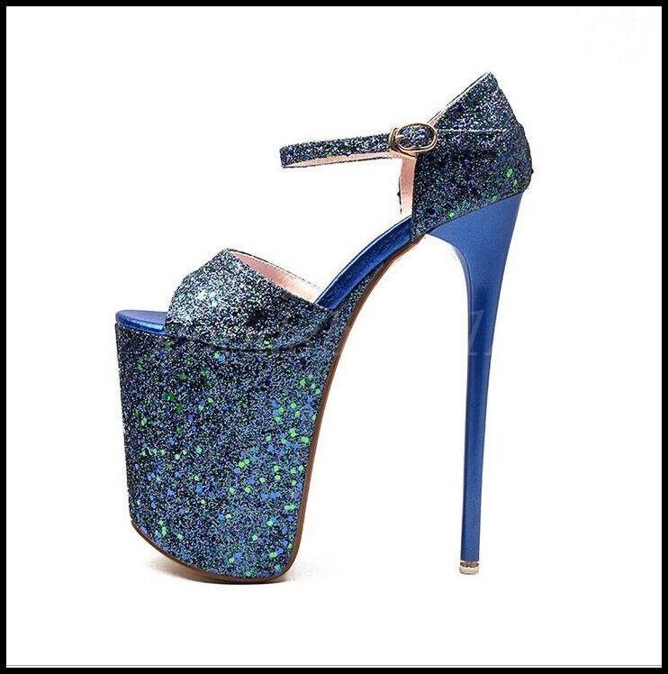 Sexy femme super-talons hauts Chaussures Compensées Bout Ouvert Bride Cheville Paillettes Sandales