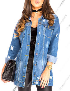 31fa487a34d UK WOMENS Ladies Denim Jacket Mid Blue Long Line Jeans Coat Size 8 ...
