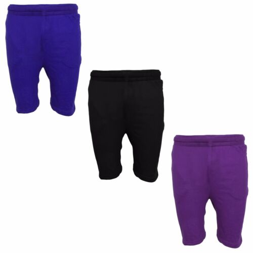 1s Mens Summer Plain Fleece Jersey Jogging Shorts Sports Sweat Running Gym