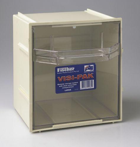 6 x Fischer Plastic Products Visi-Pak Modular Storage System Large 1H-042 Beige