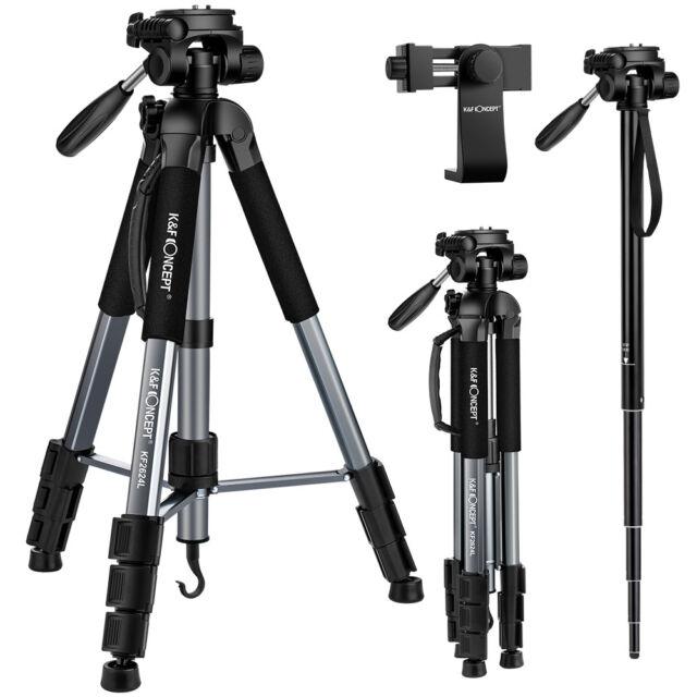 K&F Concept Portable Aluminum Tripod Monopod with Pan Head For Canon Nikon Sony