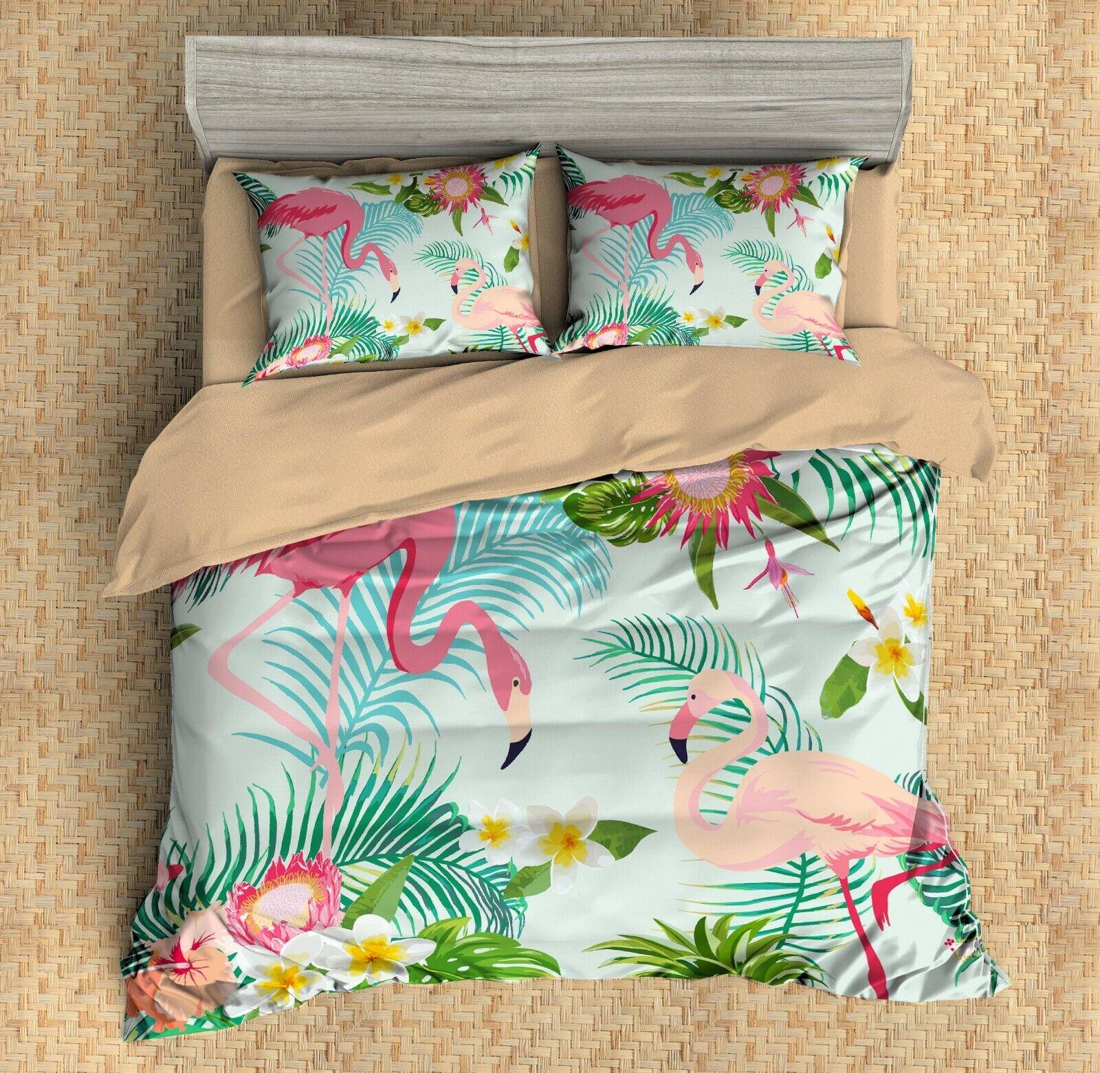 3D Flamingo,Tropical Plant,Flowers Quilt Cover Set Bedding Duvet Cover Pillow 11