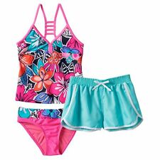 Girls ZeroXposur 3 Pc Halterkini Swimsuit Set in Pink-Size 16 NWT
