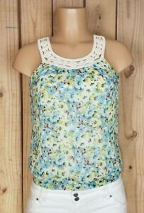 A-BYER-Womens-Size-Small-Sleeveless-Shirt-Crochet-Beaded-Neck-Floral-Print-Top