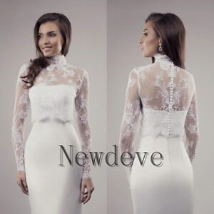 Image Is Loading High Collar Wedding Dress Bolero Long Illusion Sleeve
