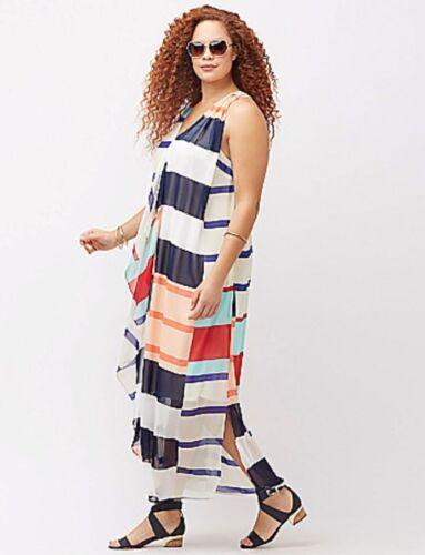 NWT Lane Bryant Patriotic Stripe Nautical Cruise Chiffon Maxi Dress 1X 2X 16 $90