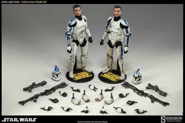 Sideshow Estrella Wars Clone Troopers Echo and Fives 1 6 Scale 2 Pack