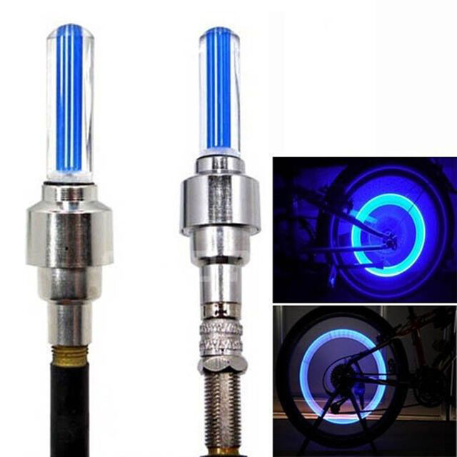 Flashing LED Neon Car Bike Wheel Tire Valve Dust Cap Spoke Lights Safety 2pcs