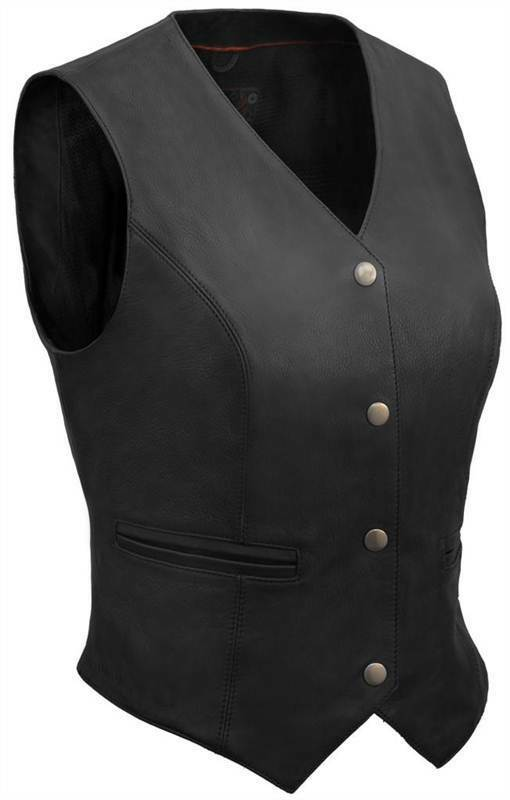 True Element Womens Premium Snap Front Fitted Motorcycle Motorcycle Motorcycle Leather Vest (XS-3XL) 160798