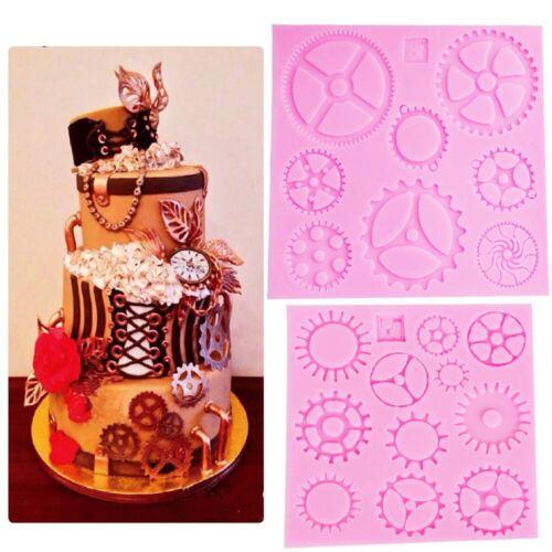 Steampunk Gears Confeitaria Silicone Mold Fondant Cake Molds Cupcake Mould